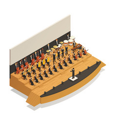 orchestra isometric composition vector image