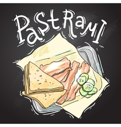 Pastrmi hand drawn vector