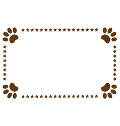 Paws animals footprints decorative frame vector