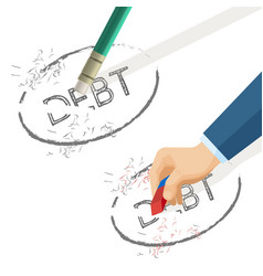 person erase word debt written on paper vector image