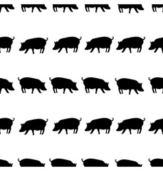 Pig black shadows silhouette in lines pattern vector