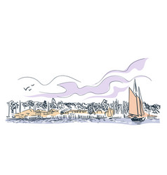 portland city sketch landscape line skyline vector image