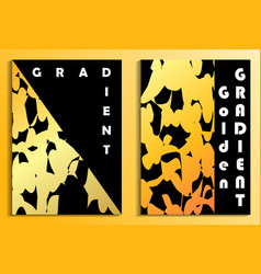 posters with a golden gradient on a black vector image