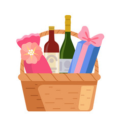 Present basket with alcohol bottle and gifts vector