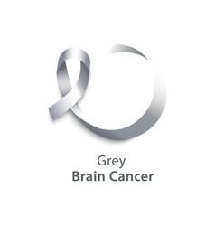 Realistic 3d grey satin ribbon icon brain vector