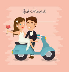 Romantic picture of just married couple in vector