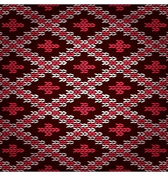 Seamless Red Knitted Pattern vector image