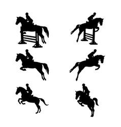 Set group equestrian sport vector