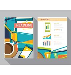 set magazine cover flyer brochure template vector image