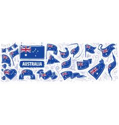 Set national flag australia in vector