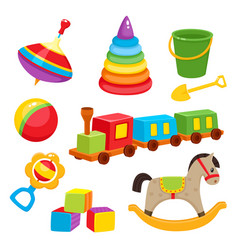 Set of colorful cartoon style baby toys kid vector