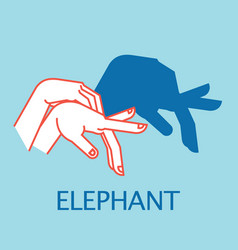 shadow theater hands gesture like elephant vector image