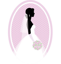silhouette portrait of the bride in profile with vector image
