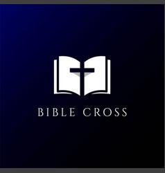 simple christian cross bible book church religion vector image