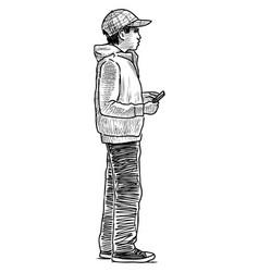 Sketch teen boy with smartphone standing and vector