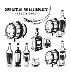 Sketch whiskey bottle and glass and barrel vector