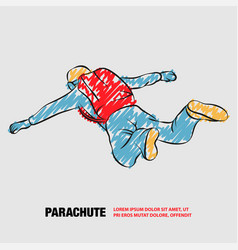 Skydiver jumps with open arms outline of vector