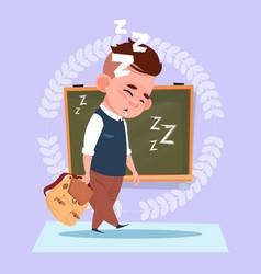 Small school boy sleep tired standing over class vector