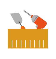 spatula and drill tools isolated icon vector image