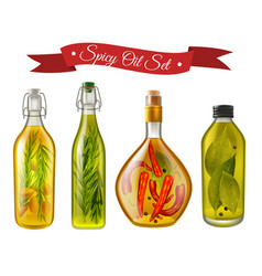 Spicy oils realistic set vector