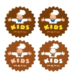 Sticker for Kids Menu with funny cook boy and logo vector image