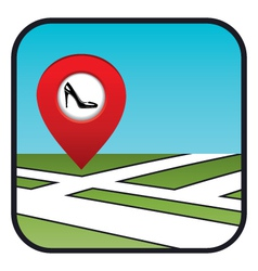 Street map icon with the pointer shoe shop vector image