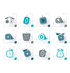stylized abstract square fruit icons vector image
