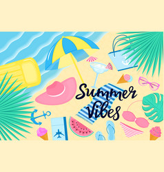 summer vibes banner beach vacation on a tropical vector image