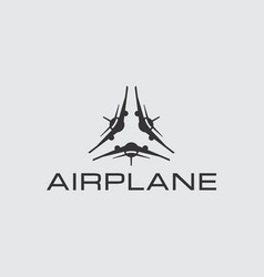 triangle airplane flat logo template vector image