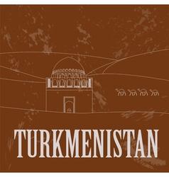 Turkmenistan landmarks Retro styled image vector