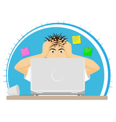upset or frightened man at the computer grabbed vector image