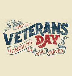 Veterans day holiday typographic design vector
