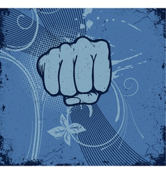 vintage grunge background with fist vector image