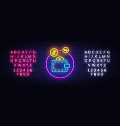 wallet neon logo coin purse neon sign vector image