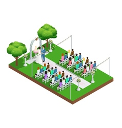 Wedding ceremony isometric composition vector image
