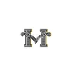 Western letter M logo mockup design retro vector