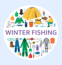 winter fishing equipment circle composition flat vector image