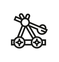 wooden catapult icon on white background vector image
