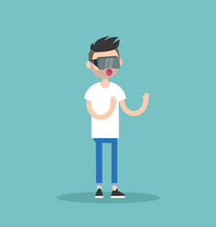 young bearded man wearing virtual reality glasses vector image