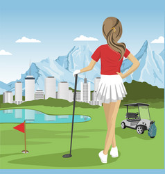 Young golfer girl standing with a golf club vector