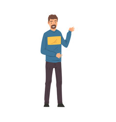 young man talking and gesturing blogger streaming vector image