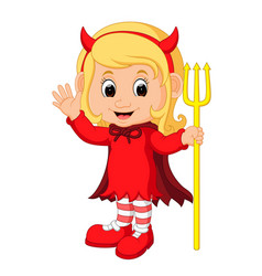 Cute devil girl cartoon vector