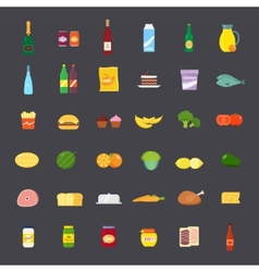Flat Style Food and Beverages Icon Set vector image