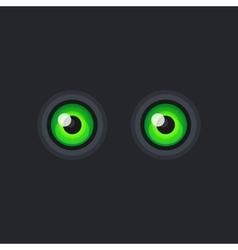 Green Cartoon Eyes on Dark Background vector image