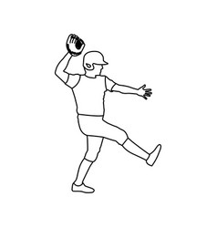 monochrome contour of baseball pitcher vector image vector image