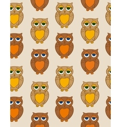 Seamless Pattern with Sleepy Brown Owl vector image