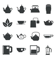 Tea Icons Set on White Background vector image vector image