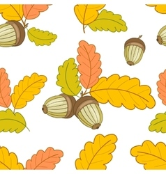 white pattern with leaves and acorns-01 vector image vector image