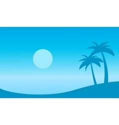 Beautiful landscape beach with palm silhouettes vector image vector image