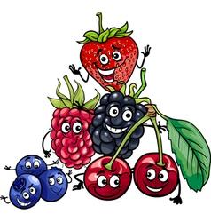 berry fruits group cartoon vector image
